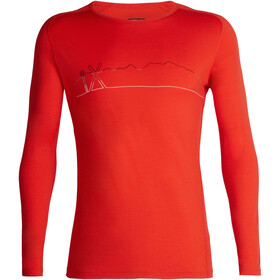 Icebreaker 200 Oasis Deluxe Single Line Ski T-shirt manches longues raglan à col ras-du-cou Homme, chili red